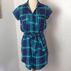 Bongo Purple & Teal Plaid Shirt Dress S